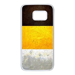 Wooden Board Yellow White Black Samsung Galaxy S7 White Seamless Case by Mariart