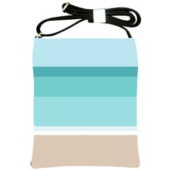 Dachis Beach Line Blue Water Shoulder Sling Bags by Mariart