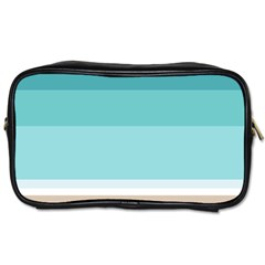 Dachis Beach Line Blue Water Toiletries Bags 2 Side by Mariart