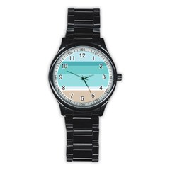 Dachis Beach Line Blue Water Stainless Steel Round Watch by Mariart