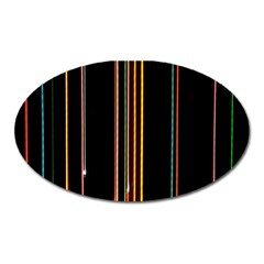 Fallen Christmas Lights And Light Trails Oval Magnet by Mariart