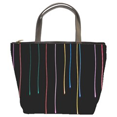 Falling Light Lines Perfection Graphic Colorful Bucket Bags by Mariart