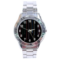 Falling Light Lines Perfection Graphic Colorful Stainless Steel Analogue Watch by Mariart