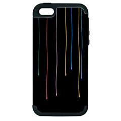 Falling Light Lines Perfection Graphic Colorful Apple Iphone 5 Hardshell Case (pc+silicone)