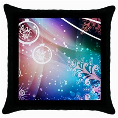 Christmas Throw Pillow Case (black) by Mariart