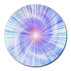 Creation Light Blue White Neon Sun Round Mousepads by Mariart