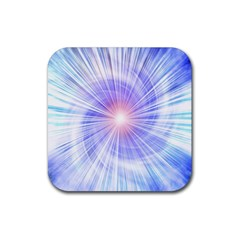 Creation Light Blue White Neon Sun Rubber Square Coaster (4 Pack)  by Mariart