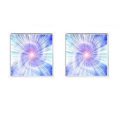 Creation Light Blue White Neon Sun Cufflinks (square) by Mariart