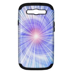 Creation Light Blue White Neon Sun Samsung Galaxy S Iii Hardshell Case (pc+silicone) by Mariart