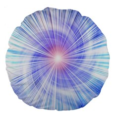 Creation Light Blue White Neon Sun Large 18  Premium Flano Round Cushions by Mariart