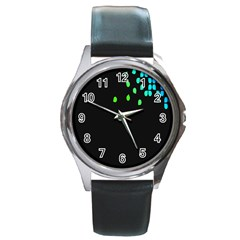 Green Black Widescreen Round Metal Watch by Mariart