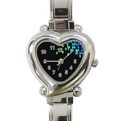 Green Black Widescreen Heart Italian Charm Watch by Mariart