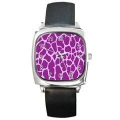 Giraffe Skin Purple Polka Square Metal Watch by Mariart