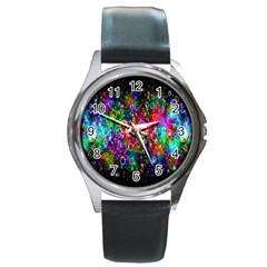 Colorful Bubble Shining Soap Rainbow Round Metal Watch by Mariart