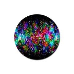 Colorful Bubble Shining Soap Rainbow Rubber Round Coaster (4 Pack)  by Mariart