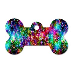 Colorful Bubble Shining Soap Rainbow Dog Tag Bone (two Sides) by Mariart