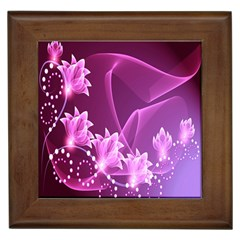 Lotus Sunflower Sakura Flower Floral Pink Purple Polka Leaf Polkadot Waves Wave Chevron Framed Tiles by Mariart