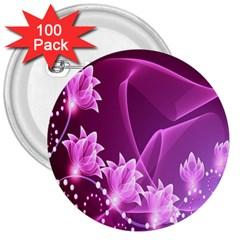 Lotus Sunflower Sakura Flower Floral Pink Purple Polka Leaf Polkadot Waves Wave Chevron 3  Buttons (100 Pack)  by Mariart