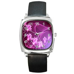 Lotus Sunflower Sakura Flower Floral Pink Purple Polka Leaf Polkadot Waves Wave Chevron Square Metal Watch by Mariart