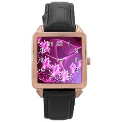 Lotus Sunflower Sakura Flower Floral Pink Purple Polka Leaf Polkadot Waves Wave Chevron Rose Gold Leather Watch  by Mariart