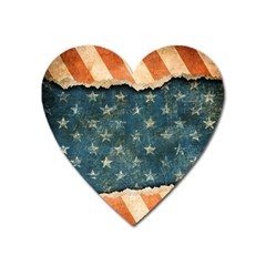 Grunge Ripped Paper Usa Flag Heart Magnet by Mariart