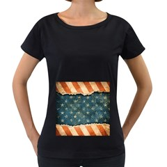 Grunge Ripped Paper Usa Flag Women s Loose-Fit T-Shirt (Black) by Mariart