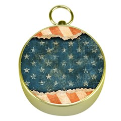 Grunge Ripped Paper Usa Flag Gold Compasses by Mariart