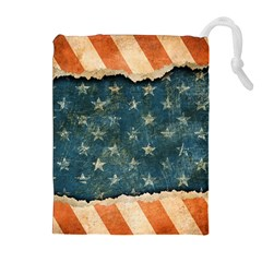 Grunge Ripped Paper Usa Flag Drawstring Pouches (extra Large) by Mariart