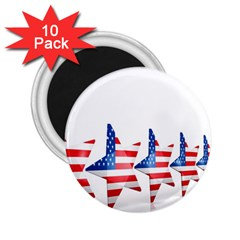 Multiple Us Flag Stars Line Slide 2 25  Magnets (10 Pack)  by Mariart