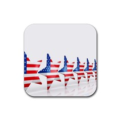 Multiple Us Flag Stars Line Slide Rubber Square Coaster (4 Pack)  by Mariart