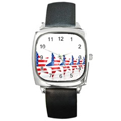 Multiple Us Flag Stars Line Slide Square Metal Watch by Mariart