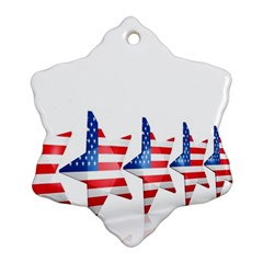 Multiple Us Flag Stars Line Slide Snowflake Ornament (two Sides) by Mariart