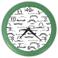 Mustache Man Black Hair Color Wall Clocks by Mariart