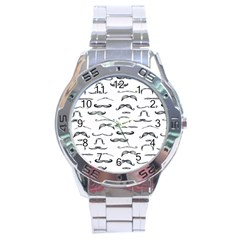 Mustache Man Black Hair Stainless Steel Analogue Watch by Mariart