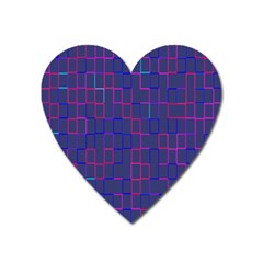 Grid Lines Square Pink Cyan Purple Blue Squares Lines Plaid Heart Magnet by Mariart
