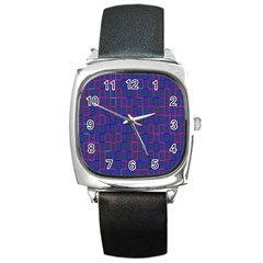 Grid Lines Square Pink Cyan Purple Blue Squares Lines Plaid Square Metal Watch by Mariart