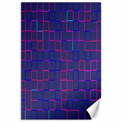Grid Lines Square Pink Cyan Purple Blue Squares Lines Plaid Canvas 12  X 18   by Mariart