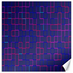 Grid Lines Square Pink Cyan Purple Blue Squares Lines Plaid Canvas 16  X 16   by Mariart