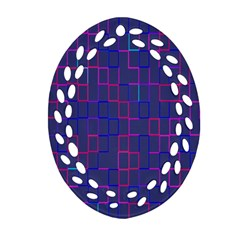 Grid Lines Square Pink Cyan Purple Blue Squares Lines Plaid Oval Filigree Ornament (two Sides) by Mariart