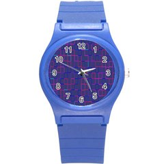 Grid Lines Square Pink Cyan Purple Blue Squares Lines Plaid Round Plastic Sport Watch (s) by Mariart