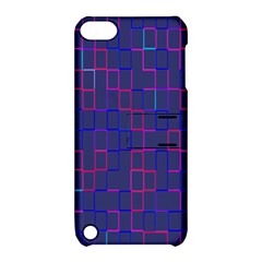 Grid Lines Square Pink Cyan Purple Blue Squares Lines Plaid Apple Ipod Touch 5 Hardshell Case With Stand by Mariart