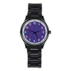 Grid Lines Square Pink Cyan Purple Blue Squares Lines Plaid Stainless Steel Round Watch by Mariart