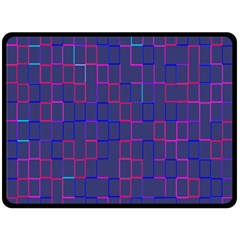 Grid Lines Square Pink Cyan Purple Blue Squares Lines Plaid Double Sided Fleece Blanket (large)  by Mariart