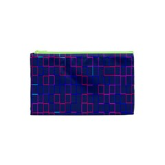 Grid Lines Square Pink Cyan Purple Blue Squares Lines Plaid Cosmetic Bag (xs) by Mariart