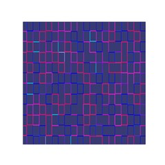 Grid Lines Square Pink Cyan Purple Blue Squares Lines Plaid Small Satin Scarf (square) by Mariart