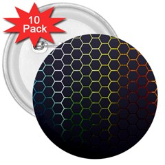 Hexagons Honeycomb 3  Buttons (10 pack)  by Mariart