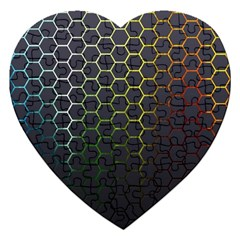 Hexagons Honeycomb Jigsaw Puzzle (heart) by Mariart