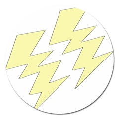 Lightning Yellow Magnet 5  (round) by Mariart