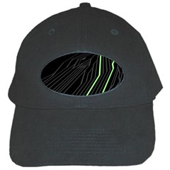 Green Lines Black Anime Arrival Night Light Black Cap by Mariart