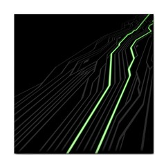 Green Lines Black Anime Arrival Night Light Tile Coasters by Mariart